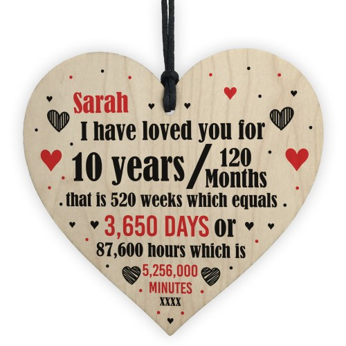 10th Anniversary Gift Personalised Heart Wedding Husband Wife
