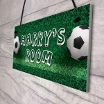 Personalised Football Themed Hanging Sign For Boys Bedroom