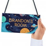 Personalised Bedroom Sign For Boy Space Theme Wall Plaque
