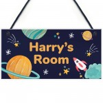 Personalised Bedroom Sign For Son Space Theme Wall Plaque