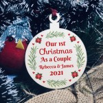 1st Christmas As A Couple Hanging Bauble Decoration Personalised