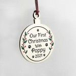 1st Christmas With Dog Puppy Personalised Wood Hanging Bauble
