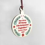 1st Christmas Bauble Personalised Hanging Decoration Boyfriend
