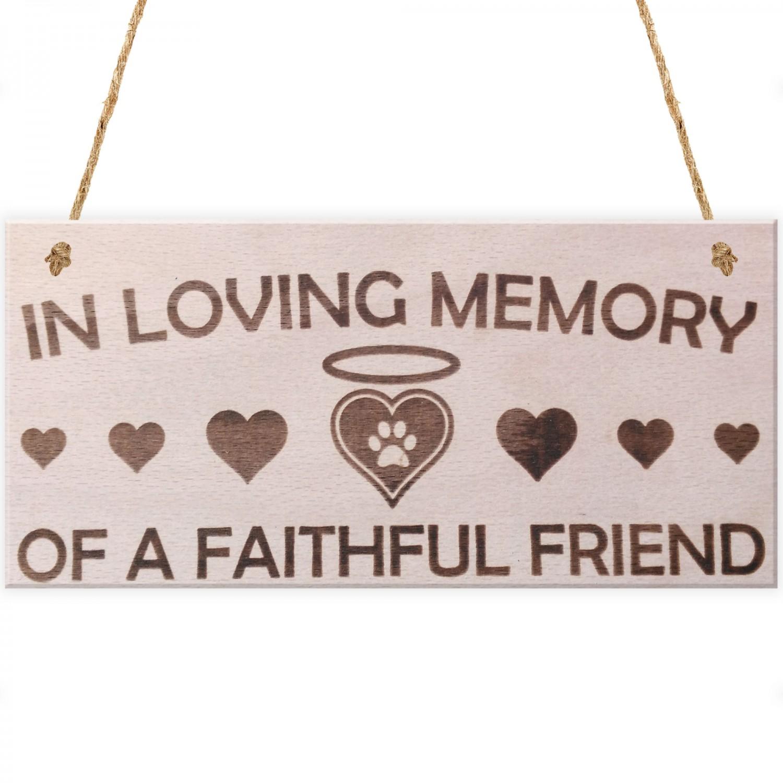 In Loving Memory Pet Memorial Plaque Wooden Hanging Sign