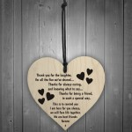 Best Friends Forever Wooden Hanging Heart Friendship Gift