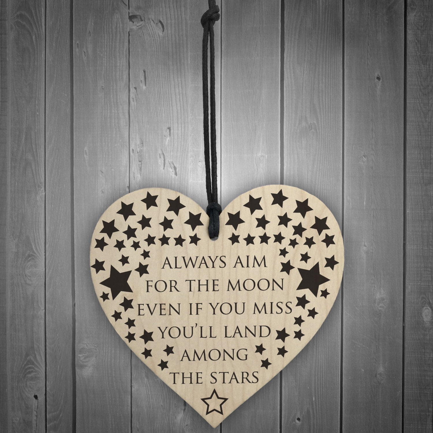 Always Aim For The Moon Wooden Hanging Heart