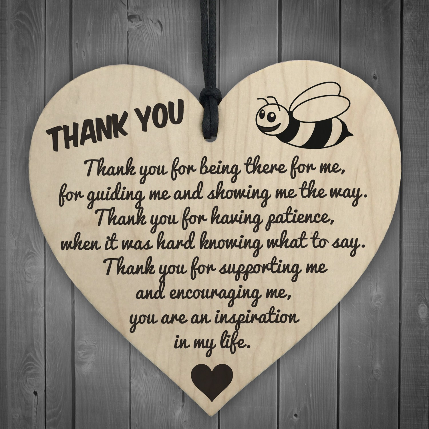 Thank You For Being There For Me Wooden Hanging Heart
