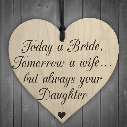 Bride Wife Daughter Wooden Hanging Heart Wedding Plaque